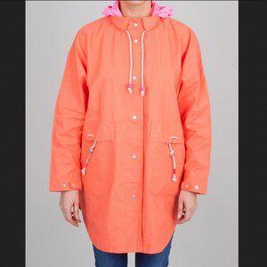 FOLK Orange Snap Button Hooded Poncho Jacket M/L